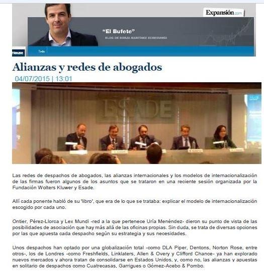 Expansión publica un artículo sobre los modelos de internacionalización de los despachos de abogados