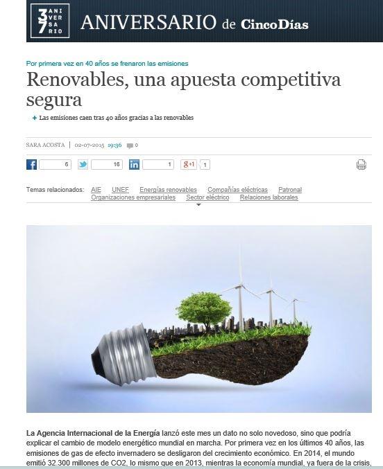 Cinco Días publica un artículo sobre el aumento de la inversión en renovables