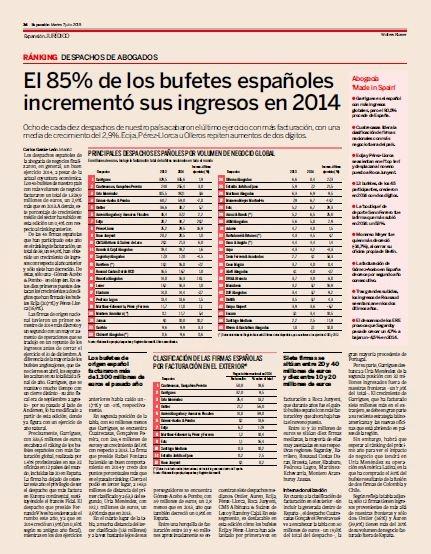 Expansión publica su ranking de facturación de despachos para el ejercicio 2014